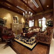 美式样板房客厅简约地板装饰