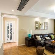 120平米客厅皮制沙发装饰