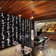 大型简约原木酒窖装饰