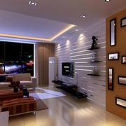 后现代风格深色客厅置物架装饰