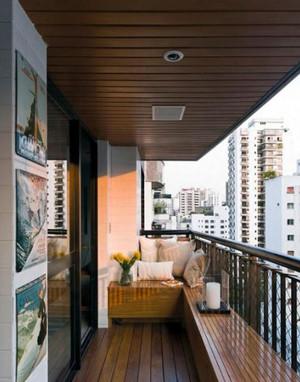 日式原木整体阳台装饰