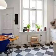 北欧风格黑白拼色厨房地板装饰