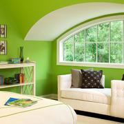 果绿色清新卧室窗户装饰