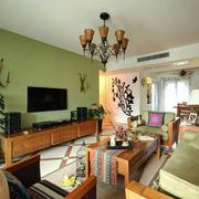 混搭风格客厅原木电视柜设计