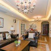 欧式简约风格客厅皮制沙发装饰