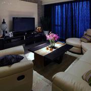 复式楼简约风格客厅深色窗帘装饰