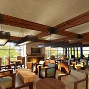 美式简约风格咖啡厅卡座装饰