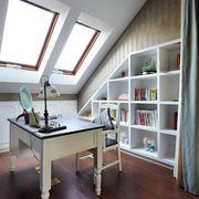 美式简约斜顶书房设计