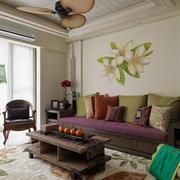 简约风格客厅沙发印花背景墙装饰