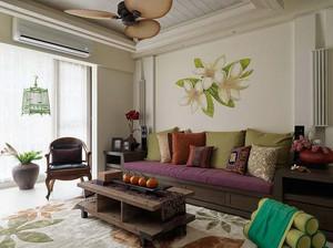 贴近自然的东南亚风格客厅装修效果图