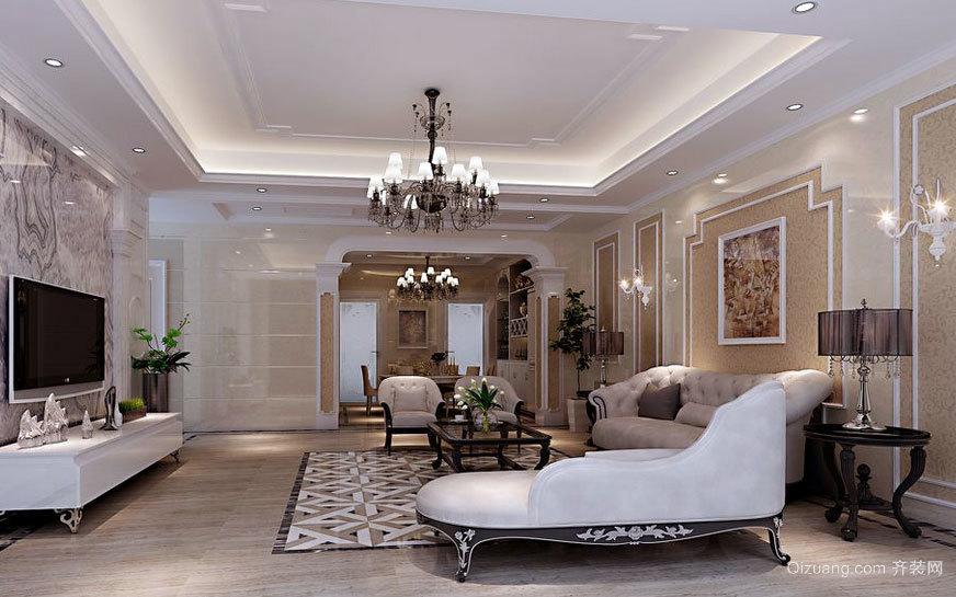 大户型豪华大气的客厅石膏板吊顶装修效果图实