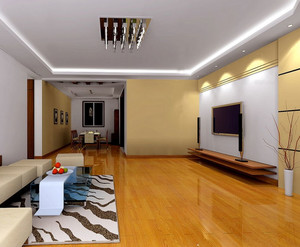 气氛和谐、清爽大方的客厅实木电视柜装修效果图实例鉴赏