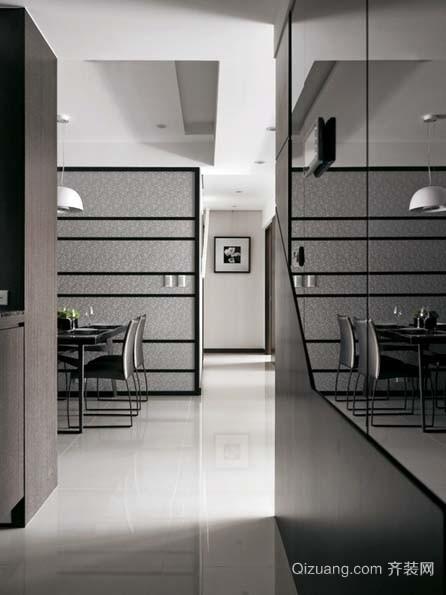 黑白空间:精致时尚黄金单身汉公寓家居装饰效果图