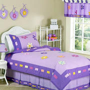 紫色系简约儿童房效果图