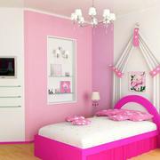粉色系简约儿童房背景墙装饰