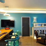 三室一厅简约客厅灯饰装饰