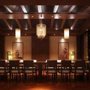 料理店原木深色吊顶设计