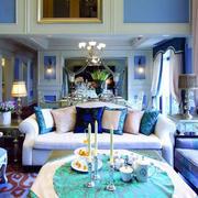 海蓝色客厅吊顶装饰