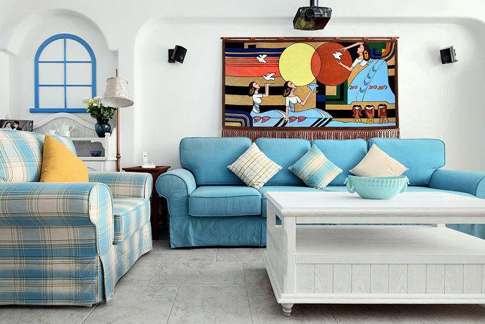 一诺倾情:地中海风格蓝色格调婚房装修效果图