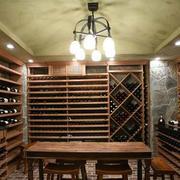 美式原木色酒窖效果图