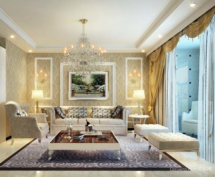 2015适合大户型人家的欧式大气沙发背景墙装修效果图