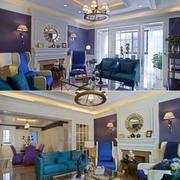 三室一厅紫色系客厅设计