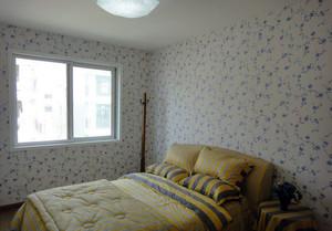 卧室蓝色印花墙纸装饰