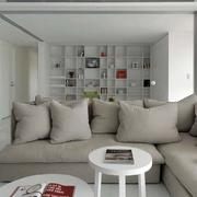 日式简约浅色客厅沙发装饰