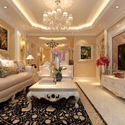 三室一厅欧式奢华客厅吊顶