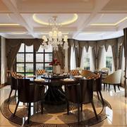 美式餐厅圆形吊顶装饰