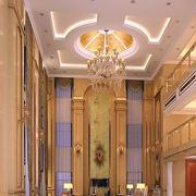 欧式大型别墅客厅圆形吊顶设计
