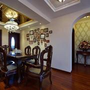 欧式深色系餐厅桌椅装饰