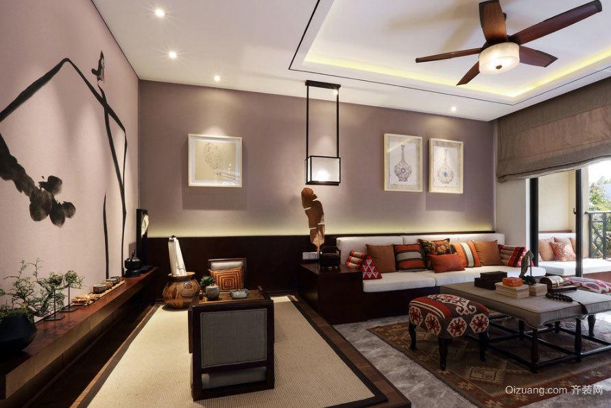 134平米现代东南亚酒店式三室两厅两卫公寓装修效果图