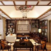 中式大型客厅置物架布置