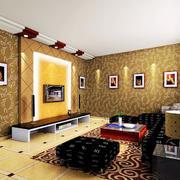 欧式暖色系电视背景墙