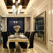 别墅欧式简约餐厅桌椅设计