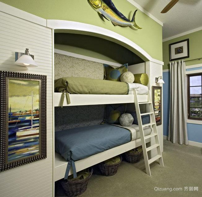 2015活灵活现的唯美儿童房高低双层床装修效果图实例鉴赏
