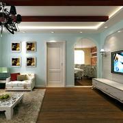 地中海风格客厅原木吊顶装饰