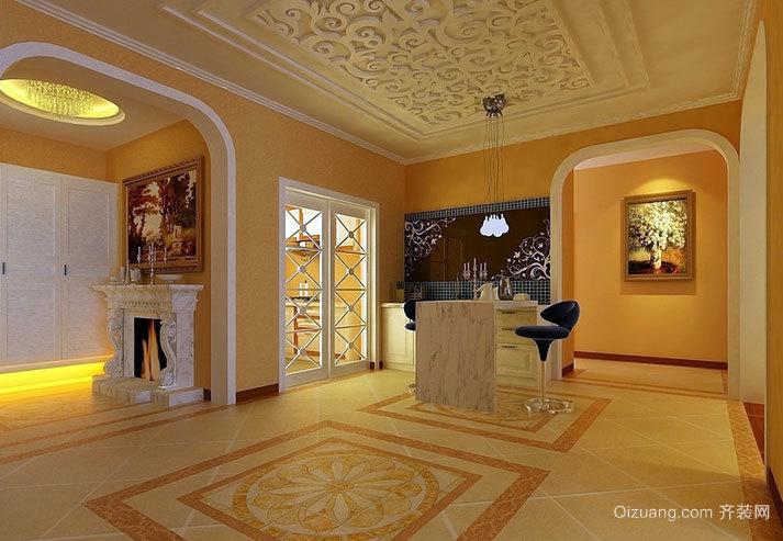 耀眼的金黄色别墅客厅装修效果图