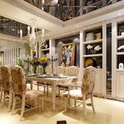 欧式别墅精致餐厅吊顶装饰