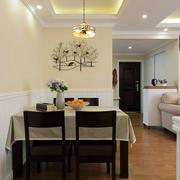 欧式简约白色餐厅背景墙设计