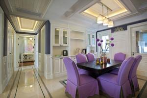 充满梦幻紫色色系的美式三居样板房装修效果图