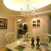 欧式别墅餐厅圆形吊顶装饰