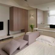 现代简约粉色系客厅电视背景墙