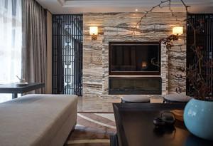美式别墅石制客厅电视背景墙