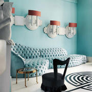 别墅简约风格蓝色别墅客厅沙发装饰