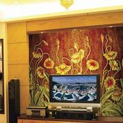 中式风格印花背景墙设计