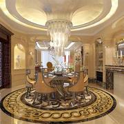 欧式别墅大型餐厅圆形吊顶