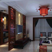 中式客厅书房置物架