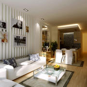 小户型简约风格客厅石膏板背景墙